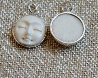 Moonface Moon Face Pendant, Bone Pendant, Sterling Silver,Bone Carving,Bone Face, Bali Bone Moon Face,20mm Moon Face Charm,Pairs, BS16-1222A