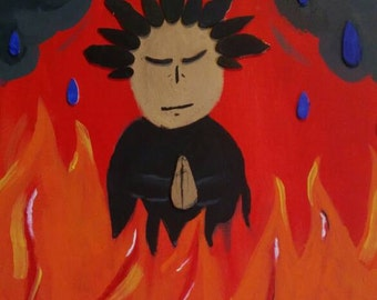 Living in fire praying for rain- mixed media painting