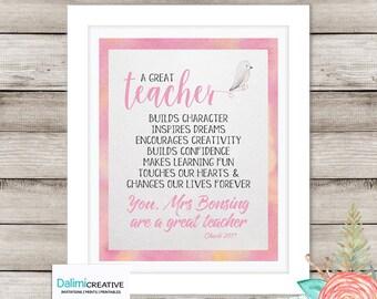 Teacher Appreciation Print - End of Year Teachers Gift - Personalised Teachers Gift - A Great Teachers Gift - Preschool Teachers Gift
