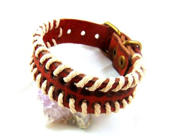 Brown Ethnic Leather Bracelet for Men