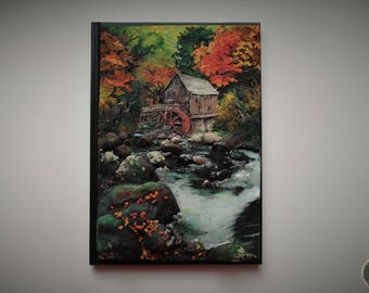 Autumn landscape with brook and watermil notebook cover from polymer clay