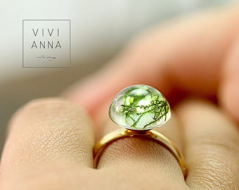 Real Moss ring in 16 K gold plated r109 under