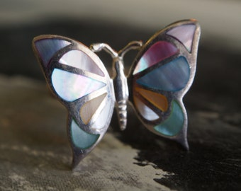 Handmade one of a kind 925 sterling silver and rainbow mother of pearl butterfly ring size M/L medium large