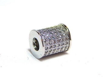 1 - Silver Micro Pave Bead, Silver Pave Cylinder Beads, Pave Column Beads, CZ Micro Pave, Silver Pave Beads, CZ Pave Column Beads, T-104H