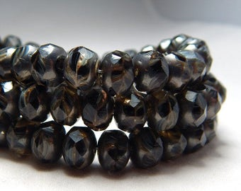8x6mm Tiger Picasso Czech Beads, Brown Beads, Black Beads, Earthy Beads, Glass Beads, Rondelle Beads, Rustic Beads, Czech Rondelles, T-66B