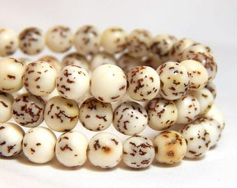 6mm Salwag Beads, Bodhi Seed Beads, Natural Salwag Beads, White Salwag Beads, Rustic Beads, 6mm White Beads, 6mm Round Beads, D-F11