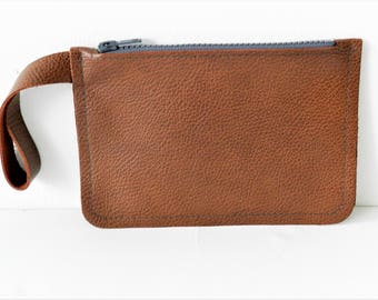 Small Leather Bag| Leather Wrist Bag| Leather Clutch| Brown Leather Pouch| Leather Pencil Case| Gift for Her