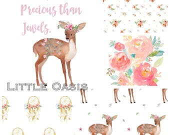 Little Oasis Custom Crib Bedding; Little Fawn, Boho Floral. Choose: blanket, quilt, sheet, skirt, changing cover, pillow, rail cover