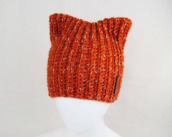 Crochet Beanie - Cat Hat, Women and Teen Beanie, Cat Lover Gift, Handmade Hat