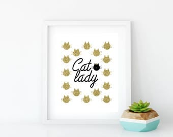 Cat Lady, Cat Lady Gold, Cat Lady Printable, Cat Lady Print, Art Print, Wall Art, Wall Decor, Crazy Cat Lady, Gold Glitter, Glitter