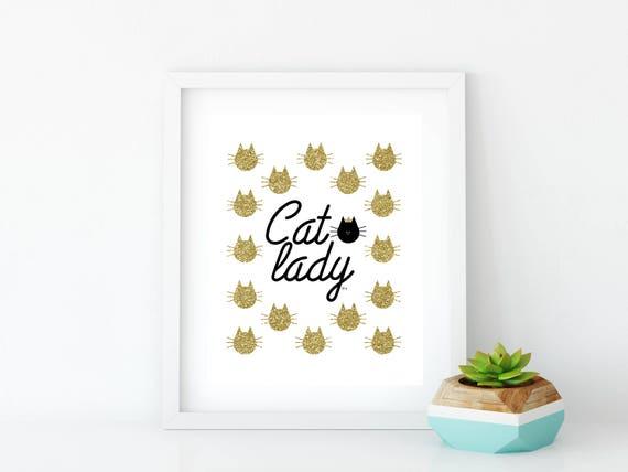 Cat Lady Gold Art Print, Instant Digital Download