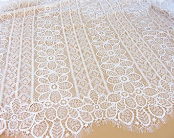 """Chantilly Lace Fabric ,off  White floral Lace fabric  for wedding 59"""" width,black lace fabric"""