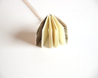 Mini Book Pendant, Book Necklace, Leather Book, Wearable Book, Tiny Book Charm, Handmade Book, Bookworm, Book Lover, Notebook, Mini Journal