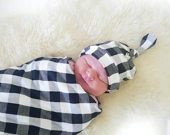 Swaddle Blanket Set, Top Knot Beanie, Headband, B/W Buffalo Plaid Swaddle Baby Blanket, Baby Shower Gift, Newborn Gift, Gender Neutral Gift