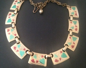 Vintage Enamel Leaves in Green and Red Necklace.14 1/2 inches long.