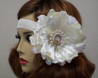 Flapper Bridal headpiece, Flapper headpiece, Great Gatsby headband, 1920s headpiece, Satin Bandeau, Flapper Bride, Vintage Inspired