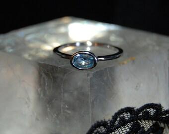 Stacking Vintage Bezel Set Oval Sky Blue Topaz Rings