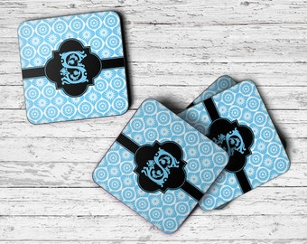 Personalized Coaster, Set of 4 Coasters, Monogram Coasters, Housewarming Gift, Custom Coasters, Drink Coaster, Personalized Coaster Set