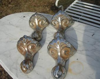 antique set of 4 claw foot tub legs / nickel plated very ornate bath tub legs/