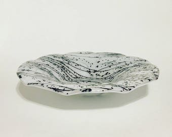 Wavy Fused Glass Bowl of Mardi Gras Glass on White Bullseye Glass