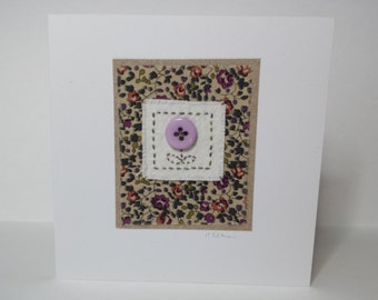 Recycled button Liberty fabric card - mothers day - birthday - thank you