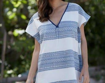 Blue and white handmade cotton beach kaftan