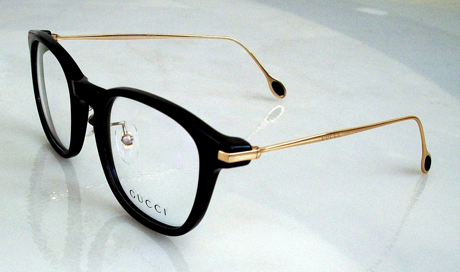vintage gucci eyeglasses black frame gold temples clear demonstration lens in original package 145mm for men great giftcondition mint