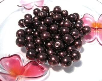 50pcs Dark Copper Brown Glass Pearls 8mm