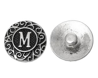 "1pc 19mm Antique Silver Alphabet /Letter ""M"" Snap Button Charms Knob Size: 5.5mm( 2/8"")"