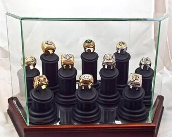 10 Ring Holder Ceremonial Keepsake Ring Box or Championship Ring Display Case