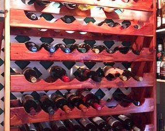 wine rack, cedar wine rack, rustic wine rack, wine bottle holder, stand for wine bottles, cabin furniture, 64 bottle wine holder