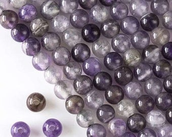 1 Strand Large Hole Amethyst 8mm round beads with 2.5mm hole