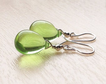 Light green glass earrings, pale green earrings, tear drop earrings, dainty green earrings, sterling stud earrings, greenery gift ideas