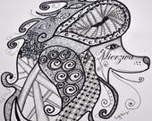 Adult Coloring Page Art Deco Poodle Tangle Swirls Digital Download