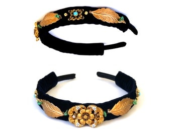 GILDED-MANE Gold Leaf Headband w/ Antique Brooch Center & Turquoise Stones