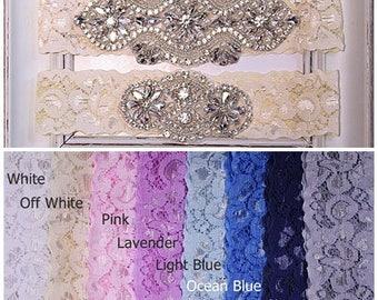 Wedding Garter, Bridal Garter Set, Garter Wedding, Plus Size Garter, Lace Garter, something blue, Wedding Garter Set, Navy Garter WG27