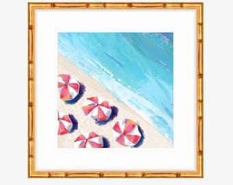 Pink Striped Beach Umbrellas -- Oil Painting Print -- Home Decor