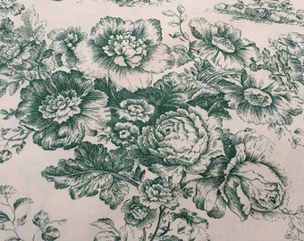 Green and  White Cotton Double Width Toile 3 Yards