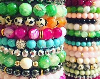 5 piece natural gemstone stack