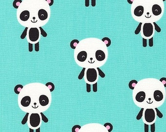 Fabric - Robert Kaufman - Urban zoologie Panda mint green cotton print - woven cotton