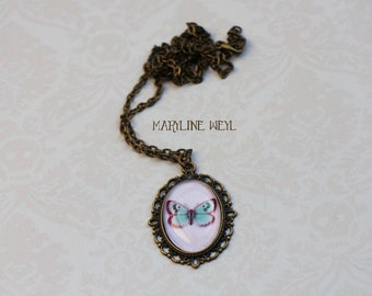 Butterfly bronze Cabochon necklace turquoise