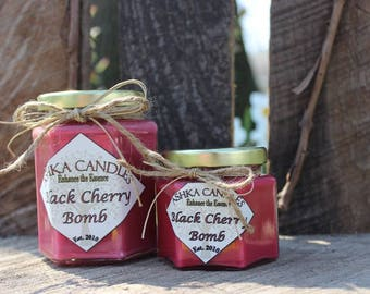 Small BLACK CHERRY BOMB soy candle! 4 oz candle, cherry candle, strong candle, black cherry candle, cherry scent, red candle, sweet scent