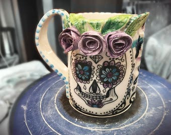 ceramic coffee mug sugar skull, purple with roses Made to order