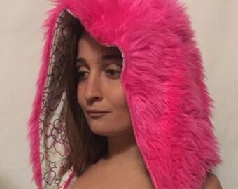 Fur hood, reversable, spirit hood, rave, festival, hat, pink, heart