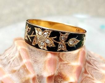 Victorian Mourning Ring Rose Cut Diamonds Black Enamel Flowers 15K Gold 1873