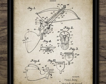Crossbow Patent Print - Crossbow Design - Projectile Weapon Invention - Weapon - Crossbow Bolt - Single Print #2161 - INSTANT DOWNLOAD