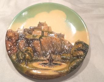 "Bossons Congleton England Hand Painted Vintage Plaque 14""  ""Edinburgh Castle"""
