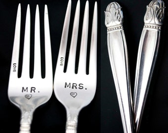 Stamped Forks Mr Mrs Fork Wedding Silverware Something Old Engagement Wedding Gift, Danish Princess, Vintage Stamped Dinner Fork with Heart
