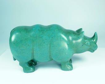 Gemstone Animal,Rhinoceros,Rhino,Turquoise,Animal, Rhino Art,Gift for Her,Carved Gemstone,Carved Animal Gemstone,Gemstone,Carved Gemstone