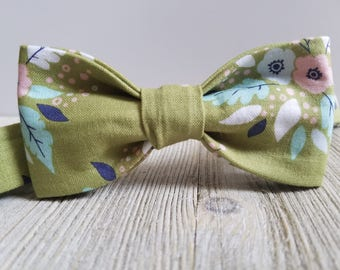 Adjustable Bowtie;Green;Floral;Wedding Accessories;Tie;Menswear;Boy's Neckties;Ring bearer;Groomsmen; Easter;Baby;Spring; Accessories; Bow